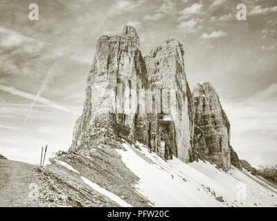 Spring hike around Tre Cime di Lavaredo massive. Beautiful colors of in the Dolomites in Italy Europe - Stock Photo
