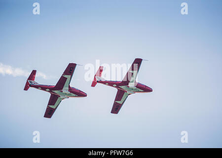 Snowbirds fly during the Canadian International Air Show in Toronto Canada - Stock Photo