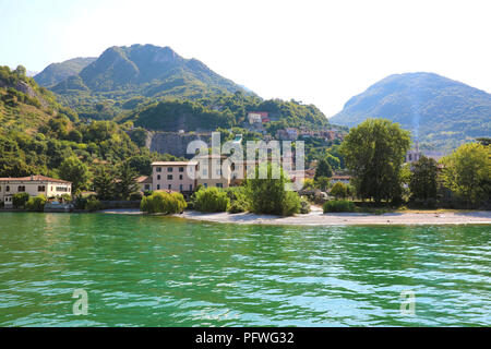 Small village on Lake Iseo, Italy - Stock Photo