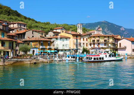 MONTE ISOLA, ITALY - AUGUST 20, 2018: view of the small village of Carzano on Monte Isola island in the middle of Lake Iseo, Italy - Stock Photo