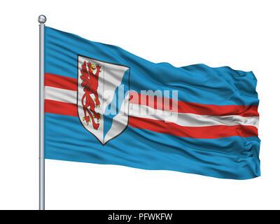 Rybnik City Flag On Flagpole, Poland, Isolated On White Background - Stock Photo