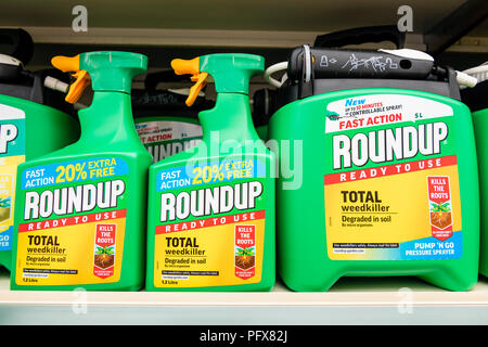 Roundup weedkiller made by Monsanto with Glyphosate, UK. - Stock Photo