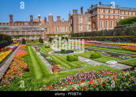 Hampton Court Palace, Richmond, London, UK - 22 April 2018 - the palace gardens - Stock Photo