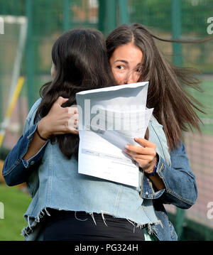 Manchester, UK. 23rd Aug, 2018. Pictures shows a delighted Tea Milanovic celebrating her GCSE results (9 grade 9's and one A^) at Withington Girl's school Manchester. Photograph by Credit: Howard Walker/Alamy Live News - Stock Photo