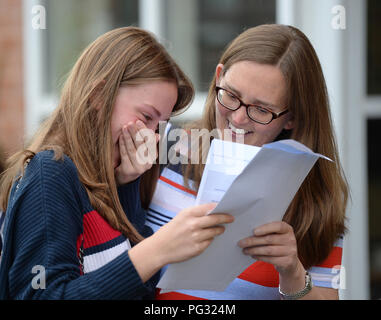 Manchester, UK. 23rd Aug, 2018. Pupil at Withington Girl's School Eleanor Wright (left) celebrates her GCSE results. Photograph by Credit: Howard Walker/Alamy Live News - Stock Photo