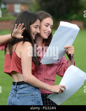 Manchester, UK. 23rd Aug, 2018. Sophie Ruben (left) and Abby Brown (right) celebrate their GCSE results at Withington Girl's School, Manchester. Photograph by Credit: Howard Walker/Alamy Live News - Stock Photo