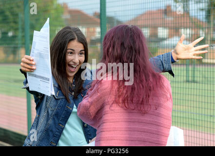 Manchester, UK. 23rd Aug, 2018. Tea Milanbovic who is a pupil at Withington Girl's School, Manchester celebrates getting 9 grade 9's passes and a A^ pass. Photograph by Credit: Howard Walker/Alamy Live News - Stock Photo