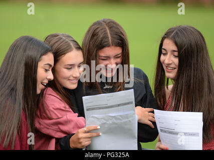 Manchester, UK. 23rd Aug, 2018. Libby Adlestone (2nd right in black) is delighted with her GCSE results, celebrates with her friends. Photograph by Credit: Howard Walker/Alamy Live News - Stock Photo