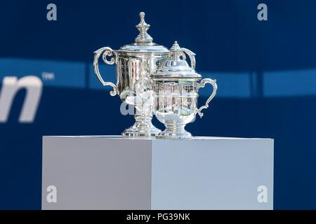 New York, USA. 23rd Aug, 2018. Trophies are seen during the Live Draw US Open Experience at Brookfield Place in New York in the United States this Thursday, 23. (PHOTO: VANESSA CARVALHO / BRAZIL PHOTO PRESS) Credit: Brazil Photo Press/Alamy Live News - Stock Photo