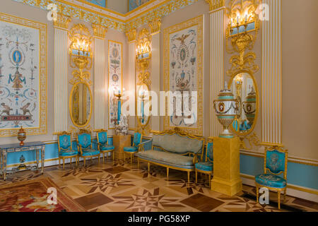 ST.PETERSBURG, RUSSIA - AUGUST 19, 2017: Interior of the Catherine Palace - Stock Photo