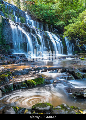 New Zealand, South Island, Catlins, Purakaunui Falls - Stock Photo