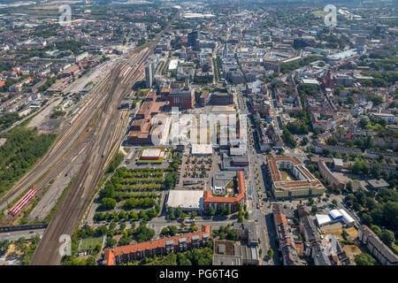 Areal Dortmunder U, Rhenish street, Downtown West, Dortmund, Ruhr area, North Rhine-Westphalia, Germany, DEU, Europe, aerial view, birds-eyes view, ae - Stock Photo