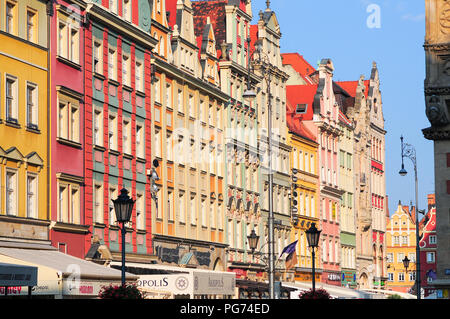 Facades of old historic tenements on Rynek (Market Square) in Wroclaw (Breslau), Poland - Stock Photo