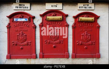 Italian mailboxes in Rome, Italy. - Stock Photo