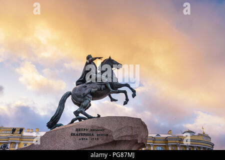 Bronze Horseman, Monument of Russian emperor Peter the Great on Senate Square in Saint Petersburg. Russia - Stock Photo