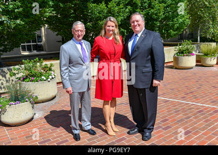 U.S. Secretary of State Michael R. Pompeo and U.S. Secretary of Defense James Mattis thank AUSMIN event organizers at the Hoover Institution at Stanford University in Palo Alto, California on July 24, 2018. - Stock Photo