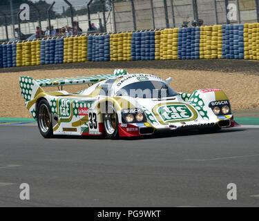 Henrik Lindberg, Porsche 962C, Group C Racing, Le Mans Classic 2018, July 2018, Le Mans, France, circuit racing, Classic, classic cars, Classic Racing - Stock Photo