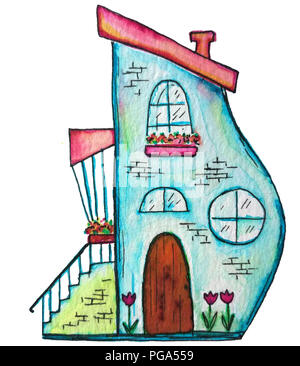 Cute fairy house watercolor illustration. Hand painted illustration can be used for cute print design for greeting holiday card or fashion design. - Stock Photo