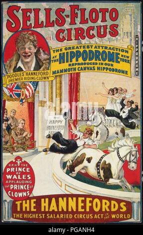 vintage circus poster - Stock Photo