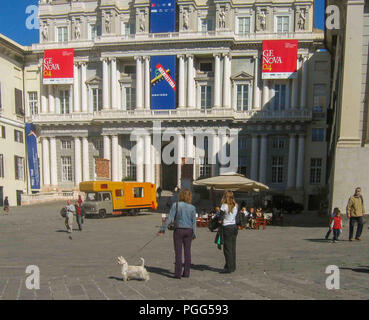 Genoa, Liguria, Italy. 16th Oct, 2004. A historic building in Genoa, Italy, the Doges Palace (Palazzo Ducale), once the home of the Doges of Genoa, is now a museum and a center for cultural events and arts exhibitions. Genoa is a favorite destination for tourists and travelers. Credit: Arnold Drapkin/ZUMA Wire/Alamy Live News - Stock Photo