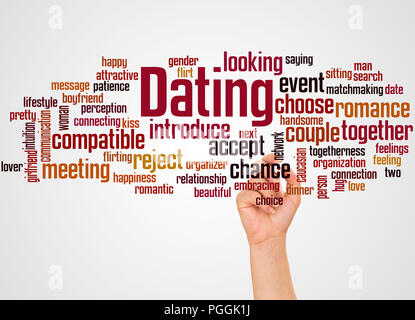 Dating word cloud and hand with marker concept on gradient background. - Stock Photo