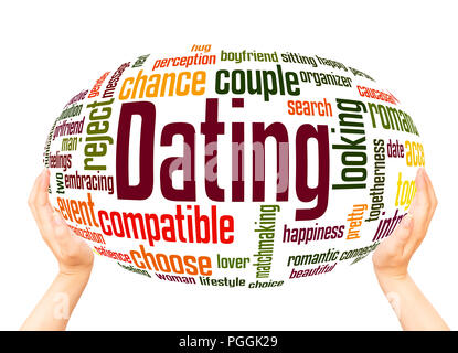 Dating word cloud concept on sphere white background. - Stock Photo
