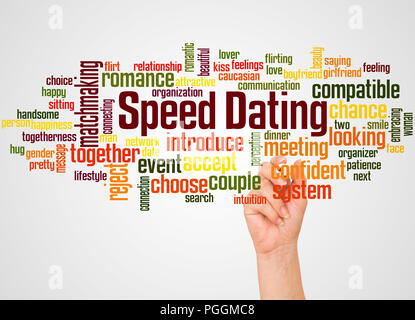 Speed dating word cloud and hand with marker concept on gradient background. - Stock Photo