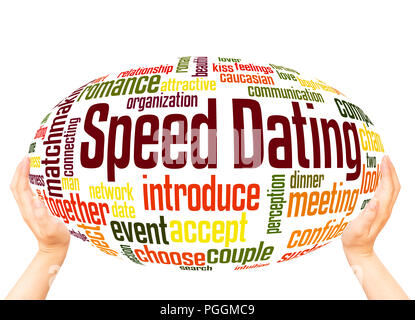 Speed dating word cloud hand sphere concept on white background. - Stock Photo