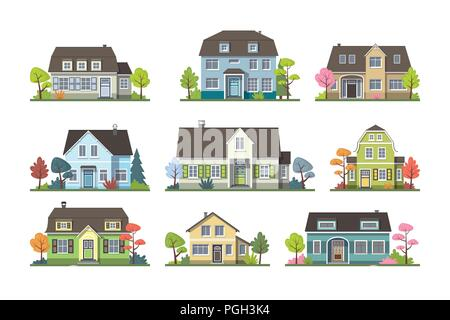 Set of classic cottage house, front view. Isolated on white background. - Stock Photo