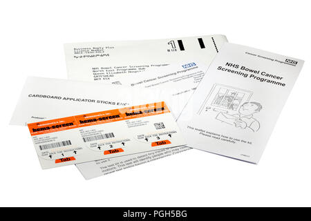 immunostics.inc. hema-screen slide for faecal occult blood bowel cancer screening stool sample card sent out by the NHS every two years to over 60 - Stock Photo