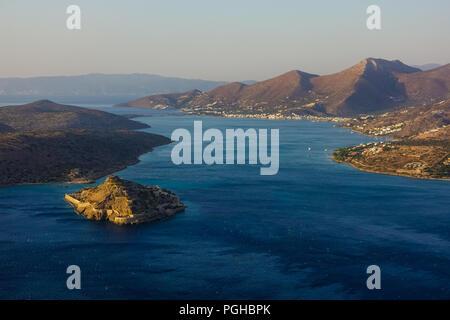 Bay of Elounda at dawn, Crete - Stock Photo