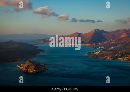 Gulf of Mirabello at dawn, Crete - Stock Photo