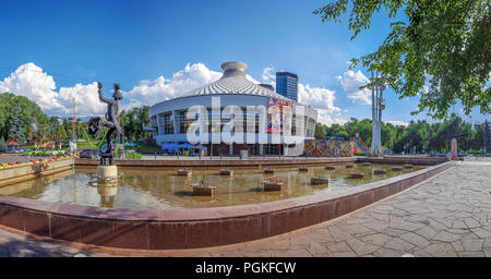 ALMATY, KAZAKHSTAN - JULY 8, 2016: Sculpture of an acrobat at the circus building. - Stock Photo