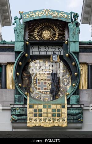 Art Nouveau clock in Vienna, known anker-clock - Stock Photo