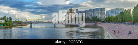 ASTANA, KAZAKHSTAN - JULY 3, 2016: Panoramic view of the pedestrian bridge over the river Ishim - Stock Photo