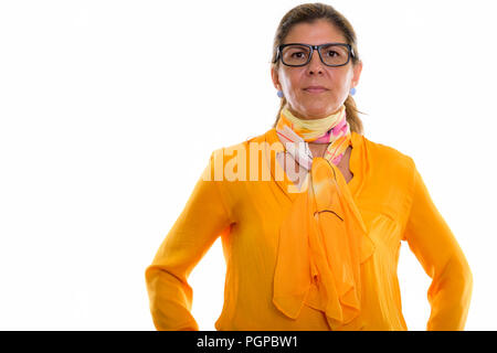 Studio shot of mature beautiful businesswoman wearing eyeglasses - Stock Photo
