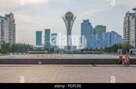 ASTANA, KAZAKHSTAN - JULY 4, 2016: Skyscraper and monument Baiterek - Stock Photo
