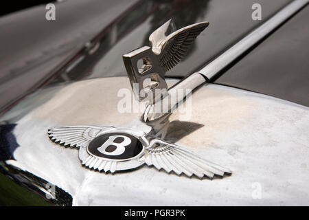 UK, England, Cheshire, Stockport, Woodsmoor Car Show, flying B badges on radiator of classic 1960 Bentley S2 saloon car - Stock Photo
