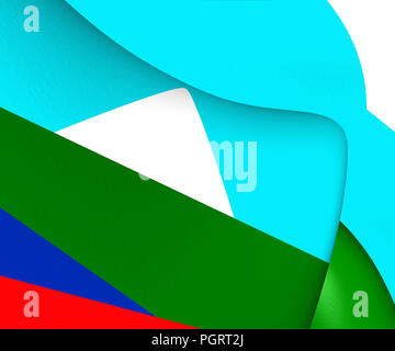 Mapuche Flag of Pehuenche Territory. 3D Illustration. - Stock Photo