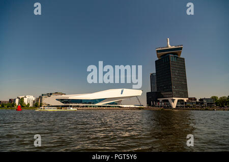 Eye Film Museum and Adam tower in Amsterdam, Netherlands - Stock Photo