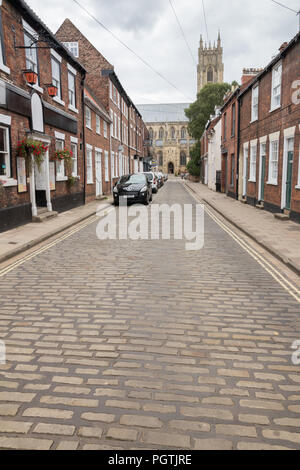 Beverley Minster at the end of Highgate in Beveley, East Yorkshire - Stock Photo