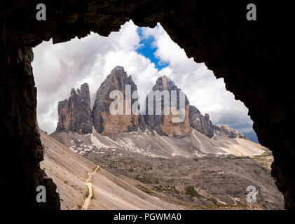 North walls of the Three Peaks of Lavaredo, view from the tunnels of the First World War, nature park Park Sexten Dolomites - Stock Photo