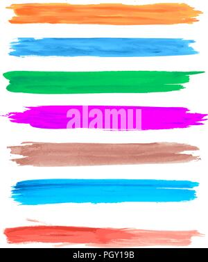 Vector watercolor grunge brush strokes set  in colors - Stock Photo