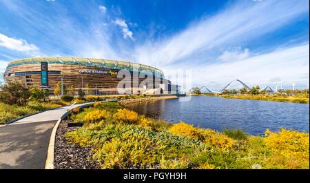 Optus Stadium surrounded by parkland. - Stock Photo