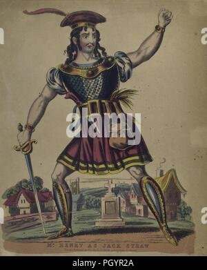 Color print, likely a hand-colored etching, depicting a full-length view of British actor Mr Henry, with a serious look on his face, holding a sword in one hand, the other raised in a fist, dressed in a red and gold hat with a feather, and a blue and red skirted tunic, with greaves and sabatons to protect his shins and feet, while performing the role of 'Jack Straw' for Robert Southey's play 'Wat Tyler, A Dramatic Poem' published in London by JL Marks, 1837. From the New York Public Library. () - Stock Photo