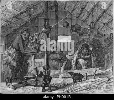 Black and white vintage print, depicting a scene in New Zealand, with several Maori women, seated and standing inside a whare (house) or wharenui (meeting house) engaged in weaving flax mats, with kete (baskets) and utensils hanging from the ceiling, and a pou tokomanawa (central column) with its base carved in the shape of an ancestor or mythological figure visible in the foreground, published in John George Wood's volume 'The uncivilized races of men in all countries of the world, being a comprehensive account of their manners and customs, and of their physical, social, mental, moral and rel - Stock Photo