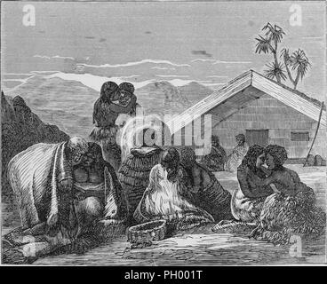 Black and white vintage print, depicting Maori people, huddled together in expressions of grief during a Tangi (traditional MAori funeral rite), with two people crouched under the gable of a whare (house) visible in the background, located in New Zealand, published in John George Wood's volume 'The uncivilized races of men in all countries of the world, being a comprehensive account of their manners and customs, and of their physical, social, mental, moral and religious characteristics', 1877. Courtesy Internet Archive. () - Stock Photo