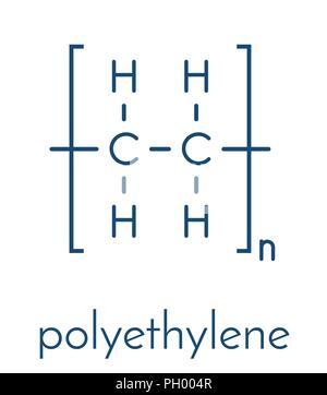 Polyethylene (PE, polythene, polyethene) plastic, chemical structure. Skeletal formula. - Stock Photo
