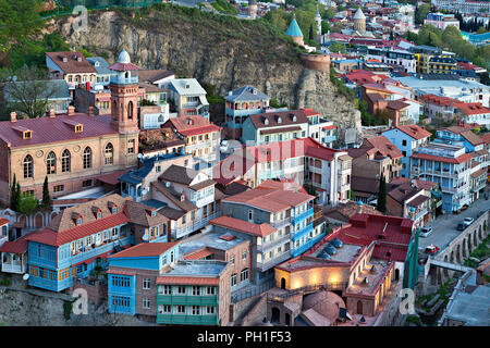 Colorful houses in Tbilisi, Georgia - Stock Photo