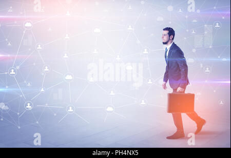 Linking people concept with lonely elegant businessman who walking somewhere  - Stock Photo